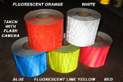 V98 Fluorescent Lime Yellow red orange blue white Reflexite Reflective Tape